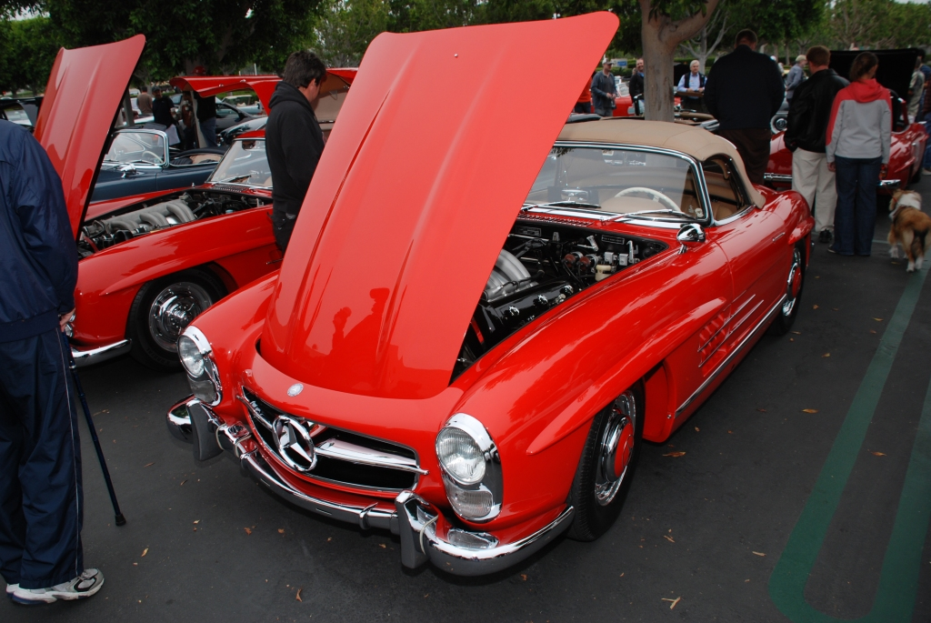 Red Mercedes Benz 300SL roadster_3/4 front view_Cars&Coffee_June 2, 2012