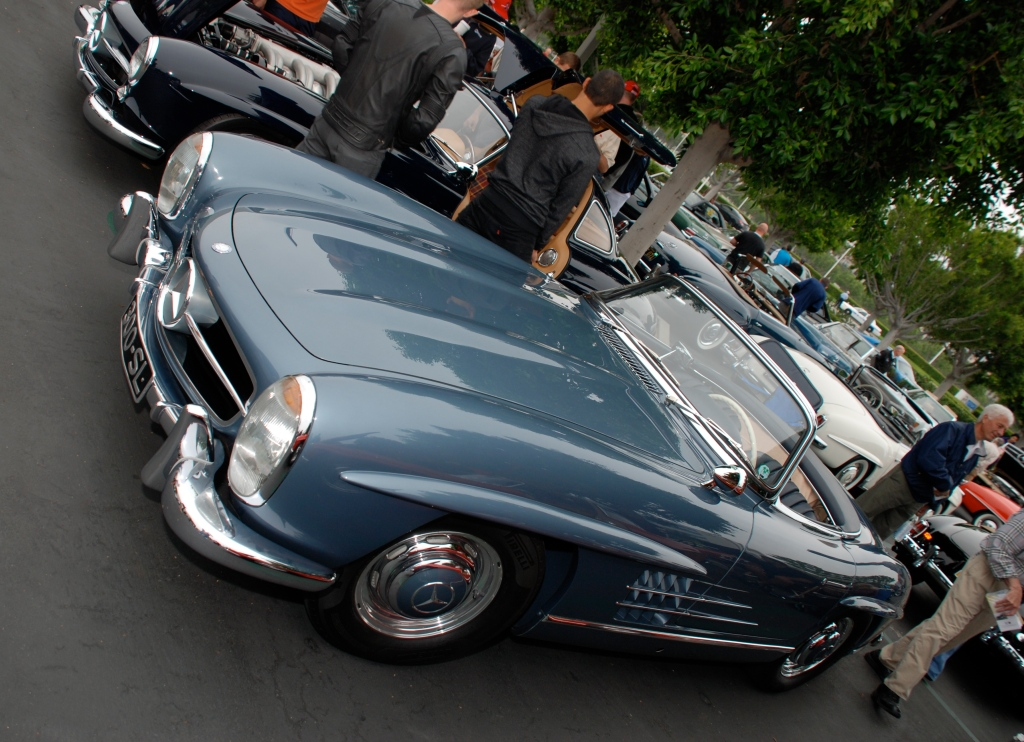 Slate blue Mercedes Benz 300SL roadster_3/4 front view_Cars&Coffee_June 2, 2012