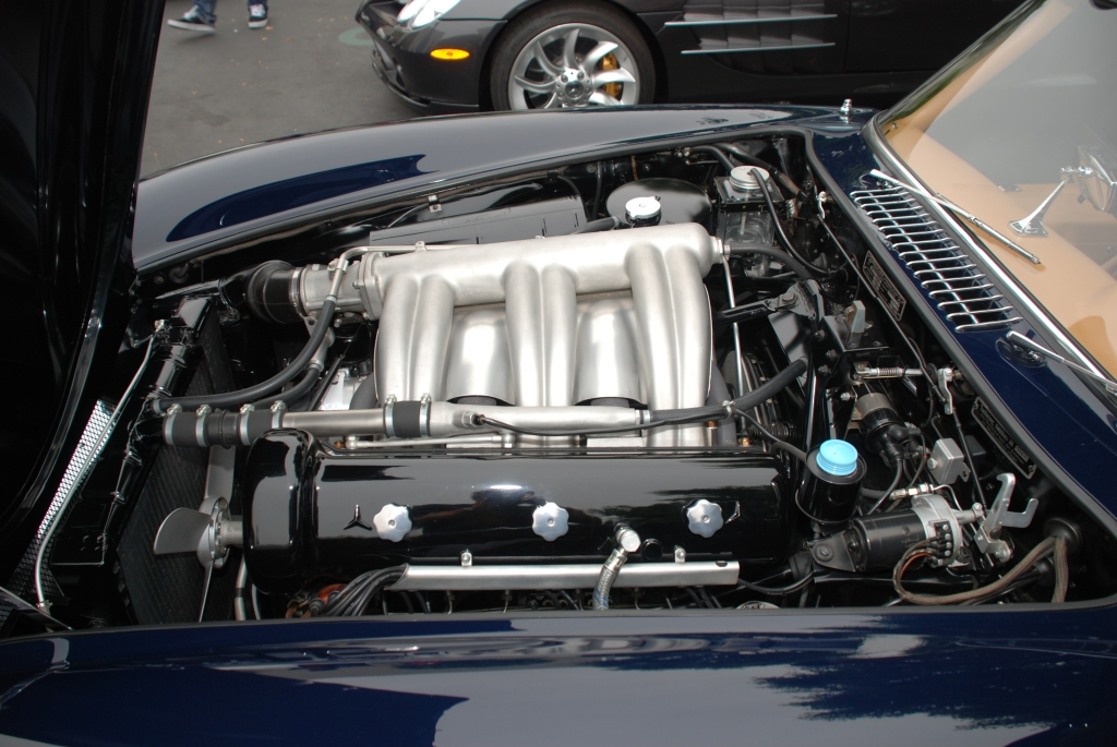 Dark blue Mercedes Benz 300SL Gullwing coupe_engine compartment / motor detail_Cars&Coffee_June 2, 2012