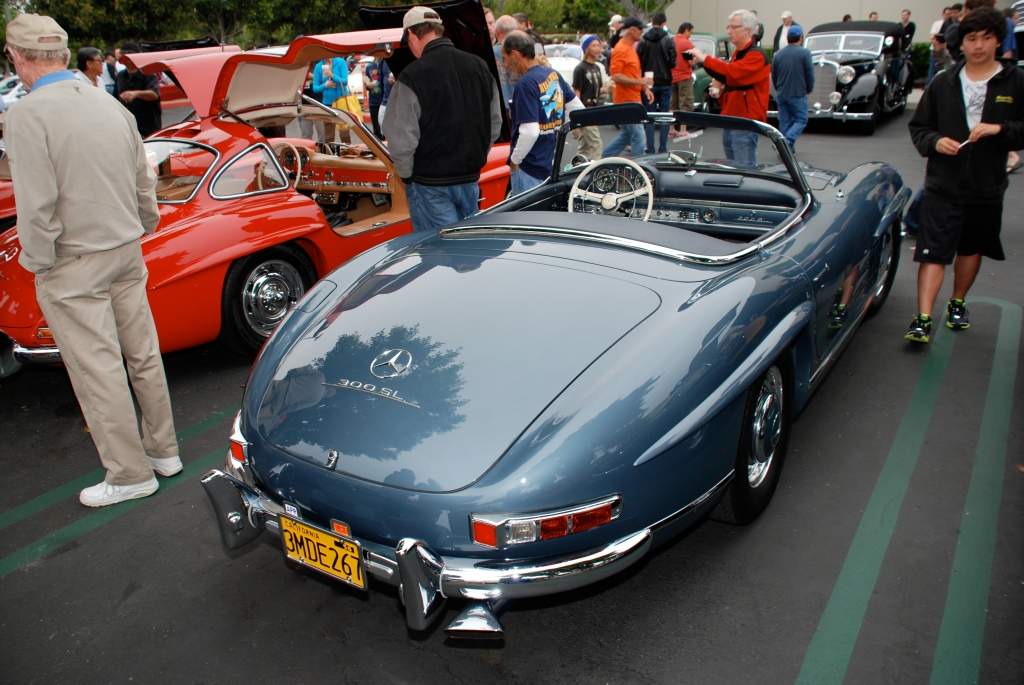 Slate blue Mercedes Benz 300SL roadster_3/4 rear view with reflections_Cars&Coffee_June 2, 2012