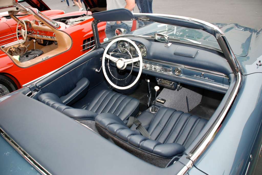 Slate blue Mercedes Benz 300SL roadster_interior detail shot_Cars&Coffee_June 2, 2012