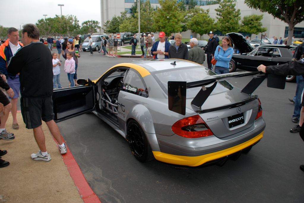 MBBS /Evosport Engineering_silver Mercedes Benz CLK AMG black series race car_3/4 rear view_Cars&Coffee_June 2, 2012