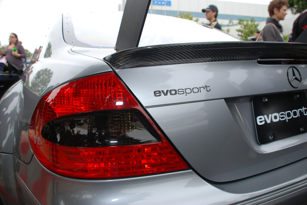 MBBS /Evosport Engineering_silver Mercedes Benz CLK AMG black series race car_tail light, spoiler lip detail and rear wing strut_Cars&Coffee_June 2, 2012