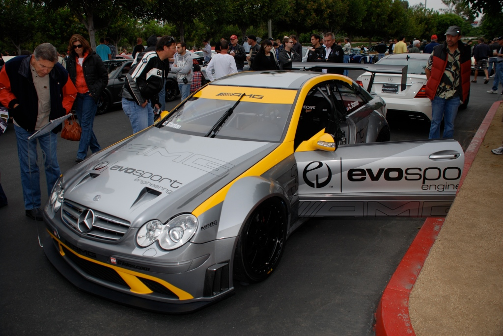 MBBS /Evosport Engineering_silver Mercedes Benz CLK AMG black series race car_3/4 front view_Cars&Coffee_June 2, 2012