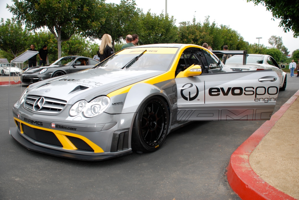 MBBS /Evosport Engineering_silver Mercedes Benz CLK AMG black series race car_low 3/4 front  view _Cars&Coffee_June 2, 2012