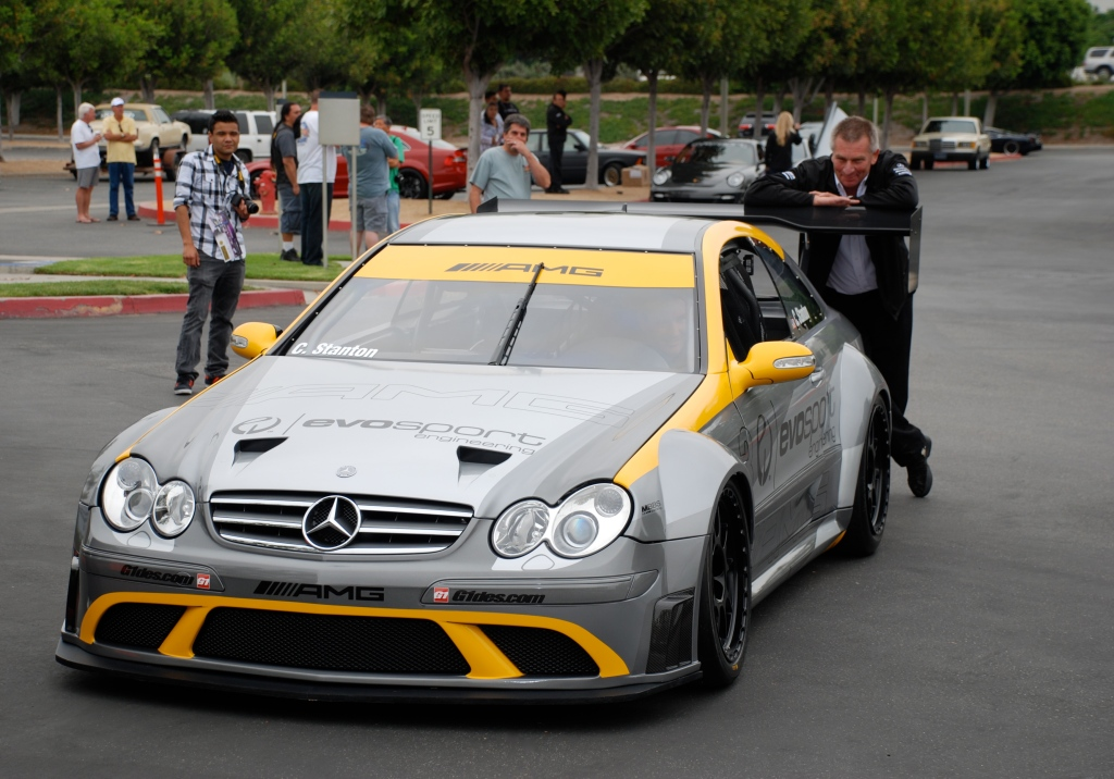 MBBS /Evosport Engineering_silver Mercedes Benz CLK AMG black series race car_ Evan waiting for transporter _Cars&Coffee_June 2, 2012