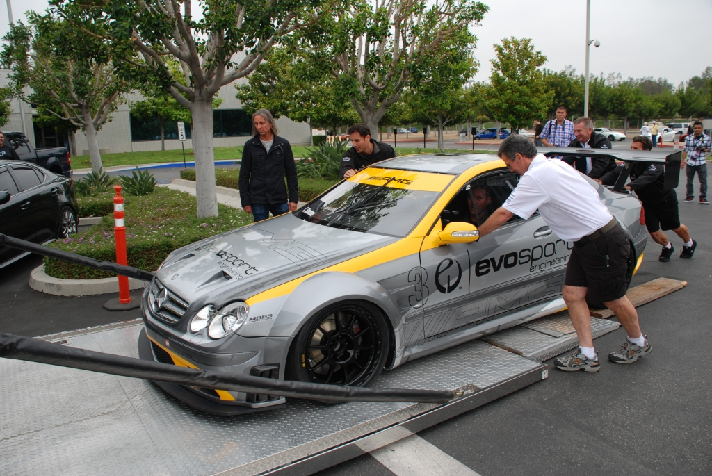 MBBS /Evosport Engineering_silver Mercedes Benz CLK AMG black series race car _ loading onto transporter liftgate _Cars&Coffee_June 2, 2012