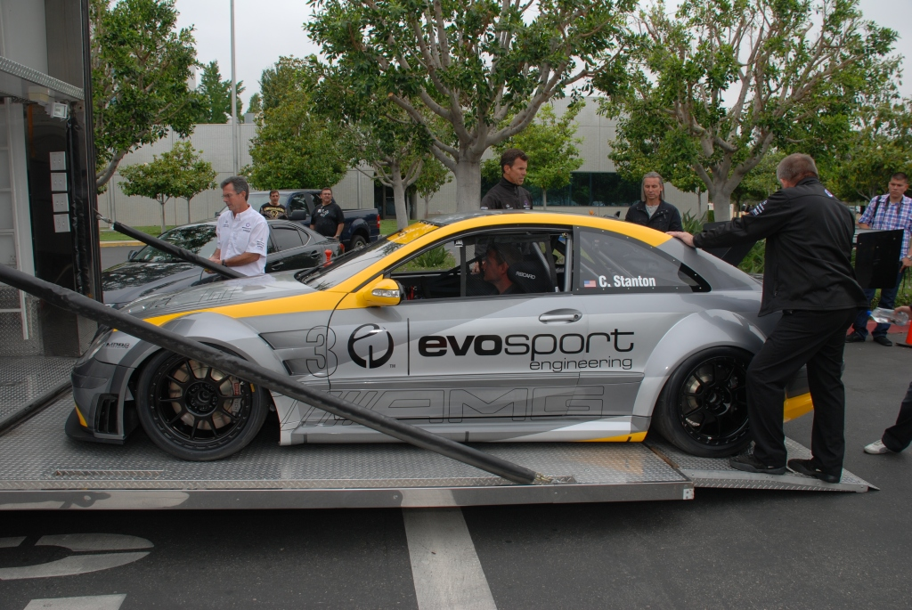 MBBS /Evosport Engineering_silver Mercedes Benz CLK AMG black series race car _ loading into transporter _Cars&Coffee_June 2, 2012