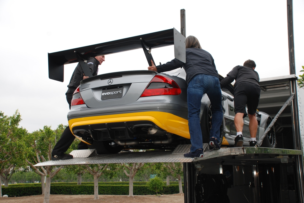 MBBS /Evosport Engineering_silver Mercedes Benz CLK AMG black series race car _ loading into upper level of transporter _Cars&Coffee_June 2, 2012