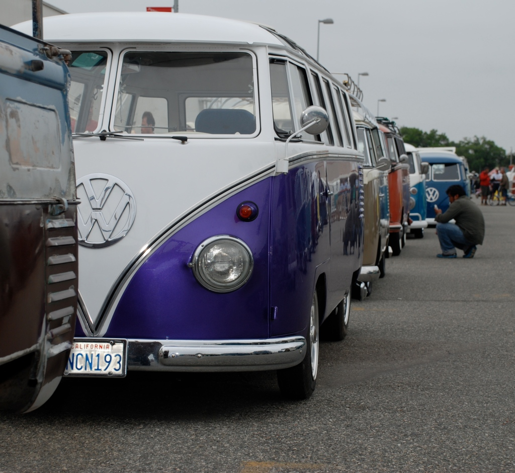 VW type II transporters _Purple & white bus / nose to tail, front view_The 2012 O.C.T.O  show_June 9, 2012