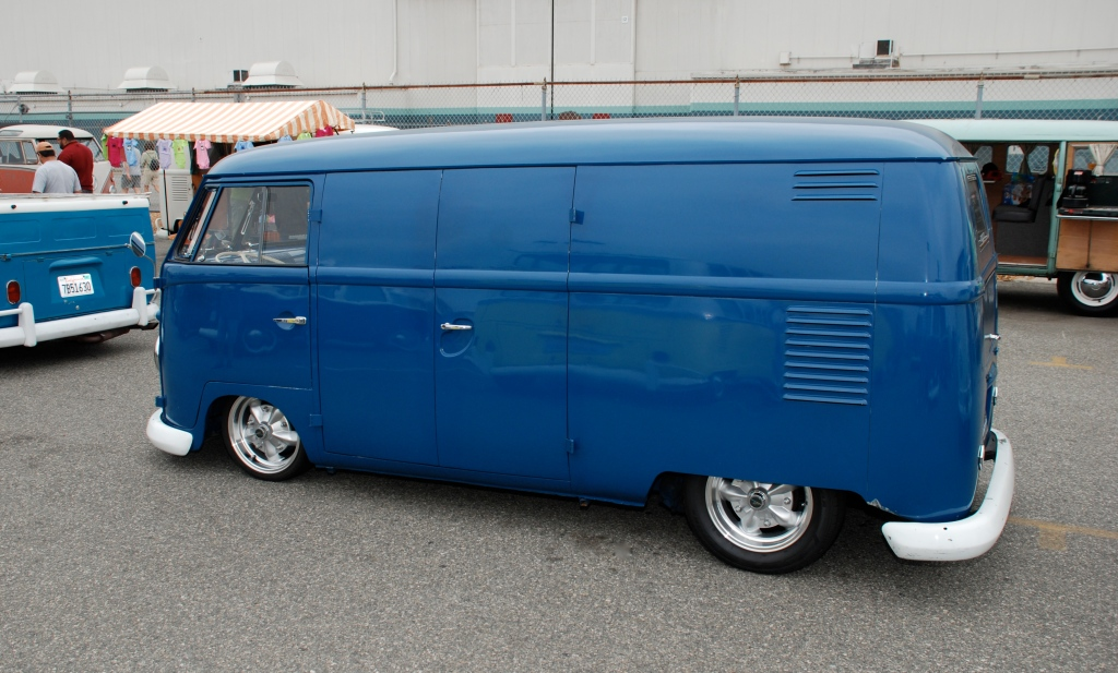 VW type II transporter_ Blue Panelvan_ side view_The 2012 O.C.T.O  show_June 9, 2012