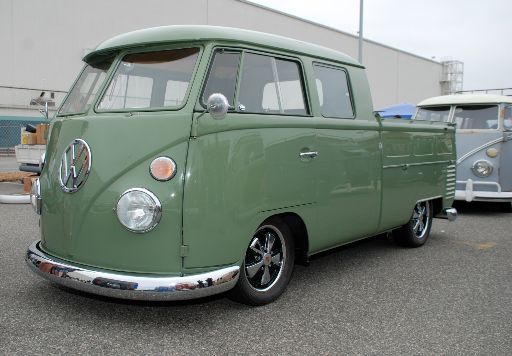 VW type II transporter_ green double cab_3/4 front view_The 2012 O.C.T.O  show_June 9, 2012