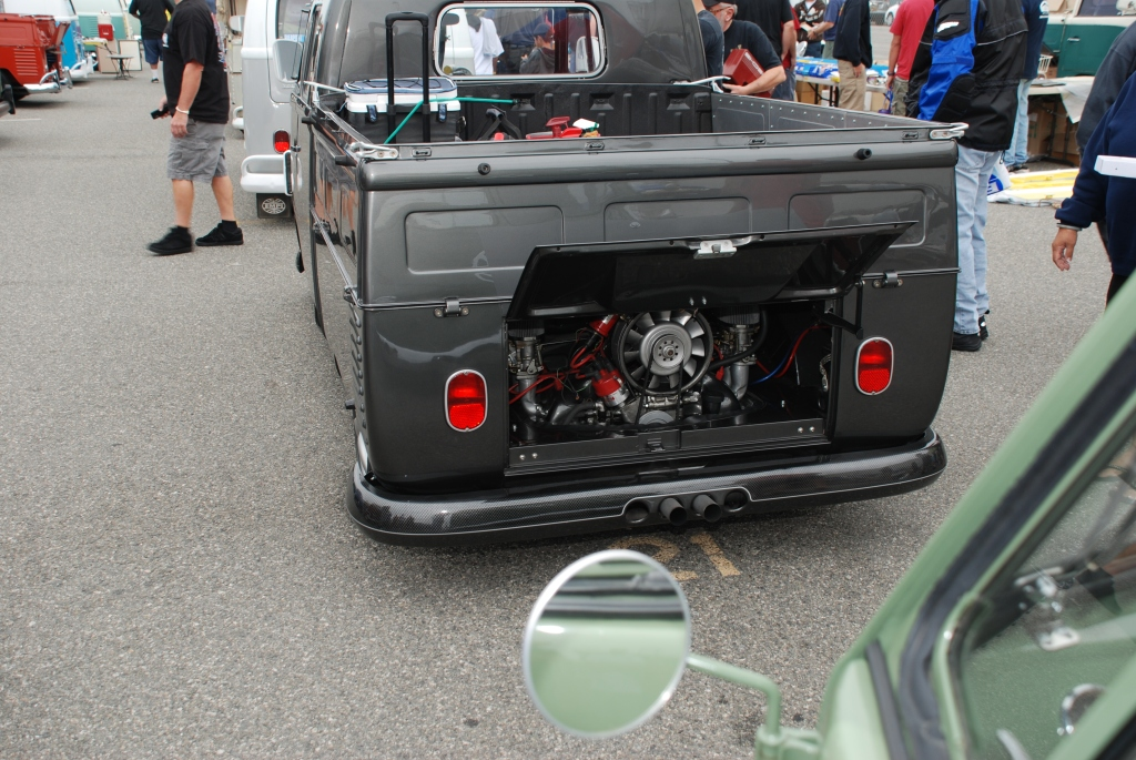 VW type II transporter _ charcoal gray/carbon fiber double cab_rear view_The 2012 O.C.T.O  show_June 9, 2012