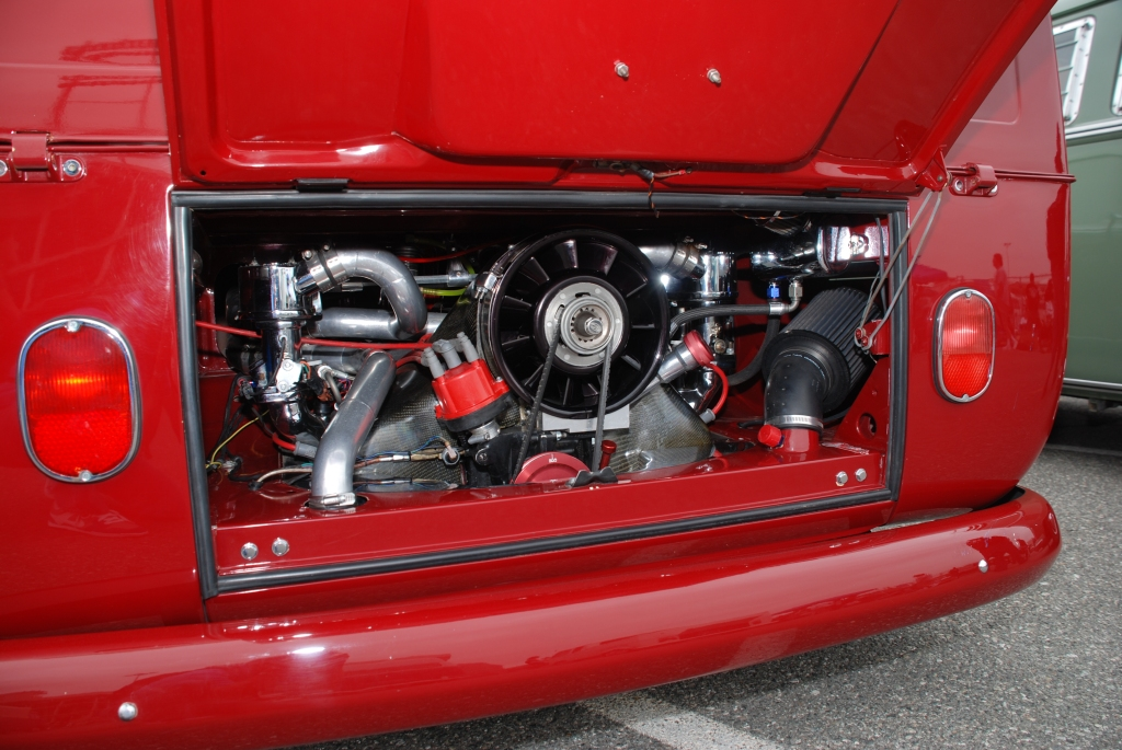 VW type II transporter  _ Red and white double cab_turbo motor detail_The 2012 O.C.T.O  show_June 9, 2012