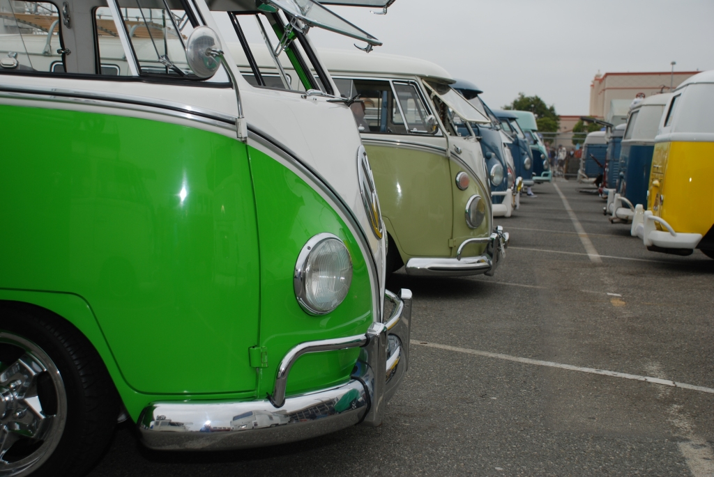 VW type II transporters  _ Lime green and white bus side view_The 2012 O.C.T.O show_June 9, 2012