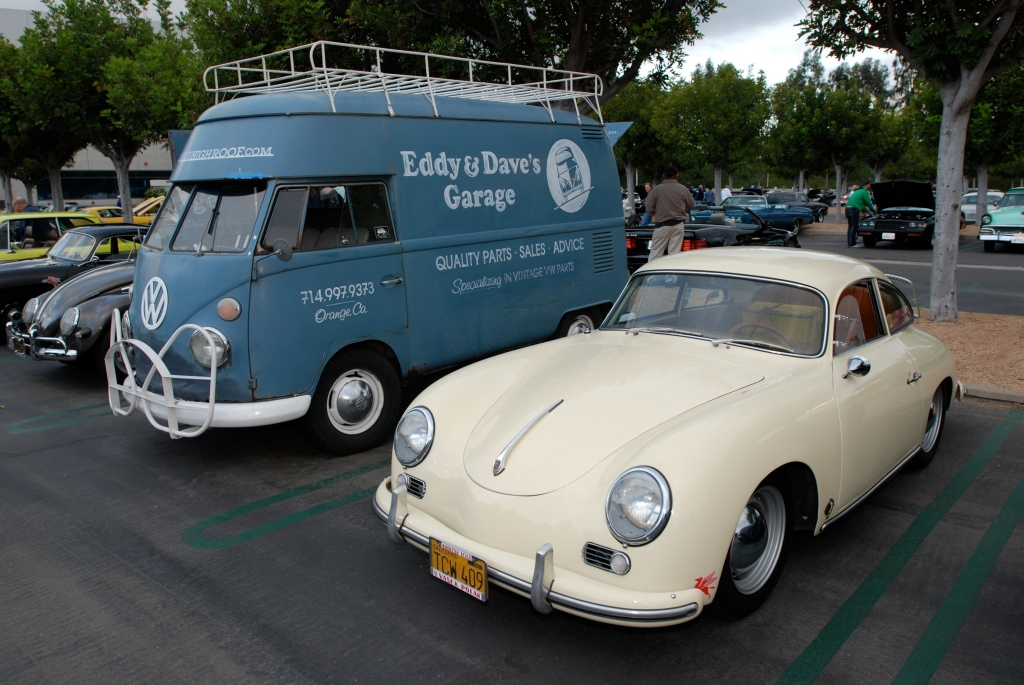 Dove blue VW type II transporter and pale yellow Porsche 356 A coupe_Cars&Coffee_May 26, 2012