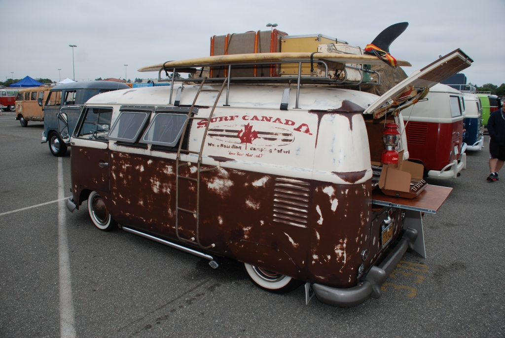 VW type II transporter_ Surf Canada panel van_ aged finish, side view_The 2012 O.C.T.O  show_June 9, 2012