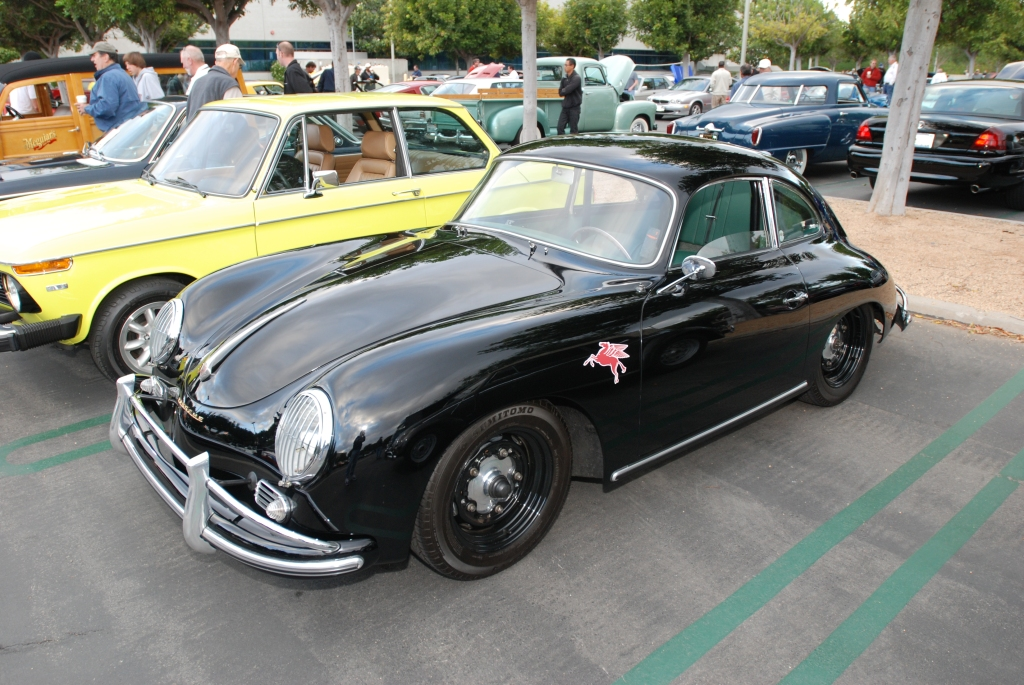 Black Porsche 356A coupe w/green interior_3/4 front view_Cars&Coffee_May 26, 2012