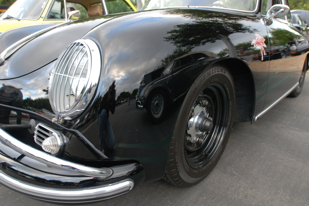 Black Porsche 356A coupe w/green interior_front fender reflections_Cars&Coffee_May 26, 2012
