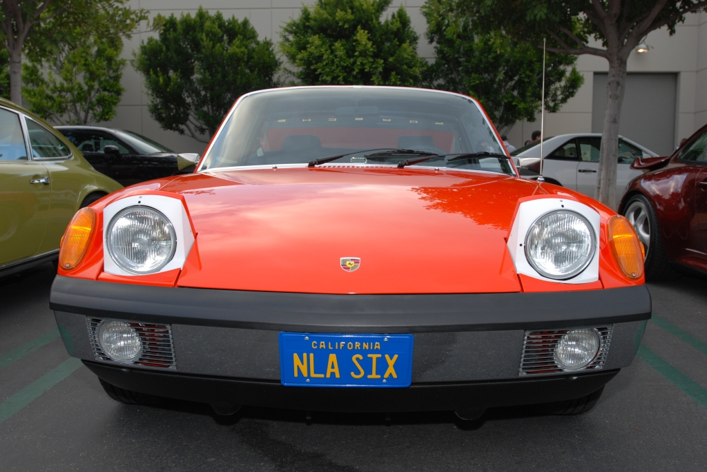 Orange 1970 Porsche 914-6_front view with raised headlights_Cars&Coffee_May 26, 2012
