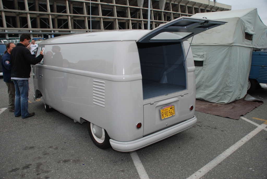 VW type II transporter  _ Gray Panelvan_3/4 rear view_The 2012 O.C.T.O  show_June 9, 2012