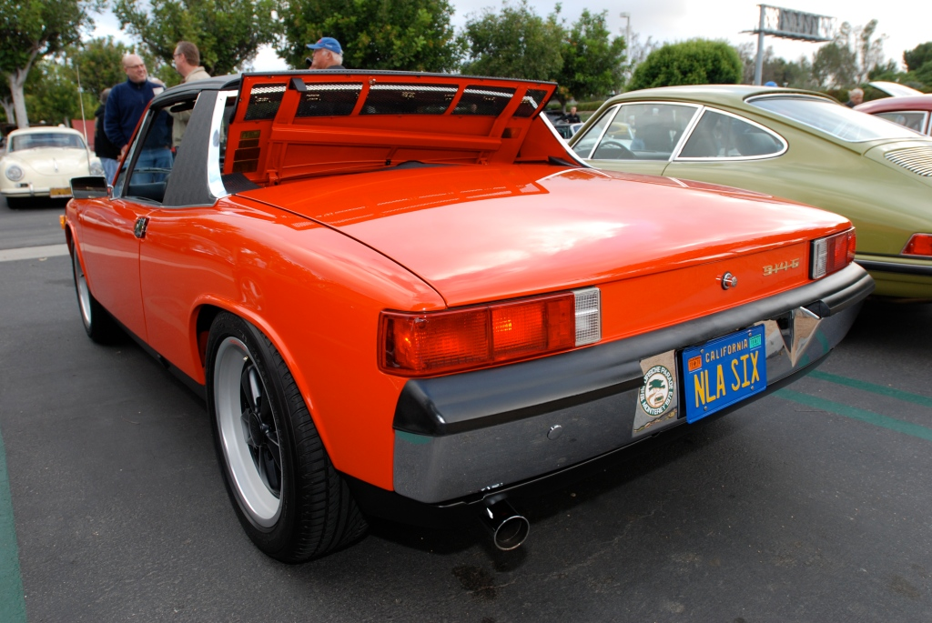 Orange 1970 Porsche 914-6_3/4 rear view_Cars&Coffee_May 26, 2012