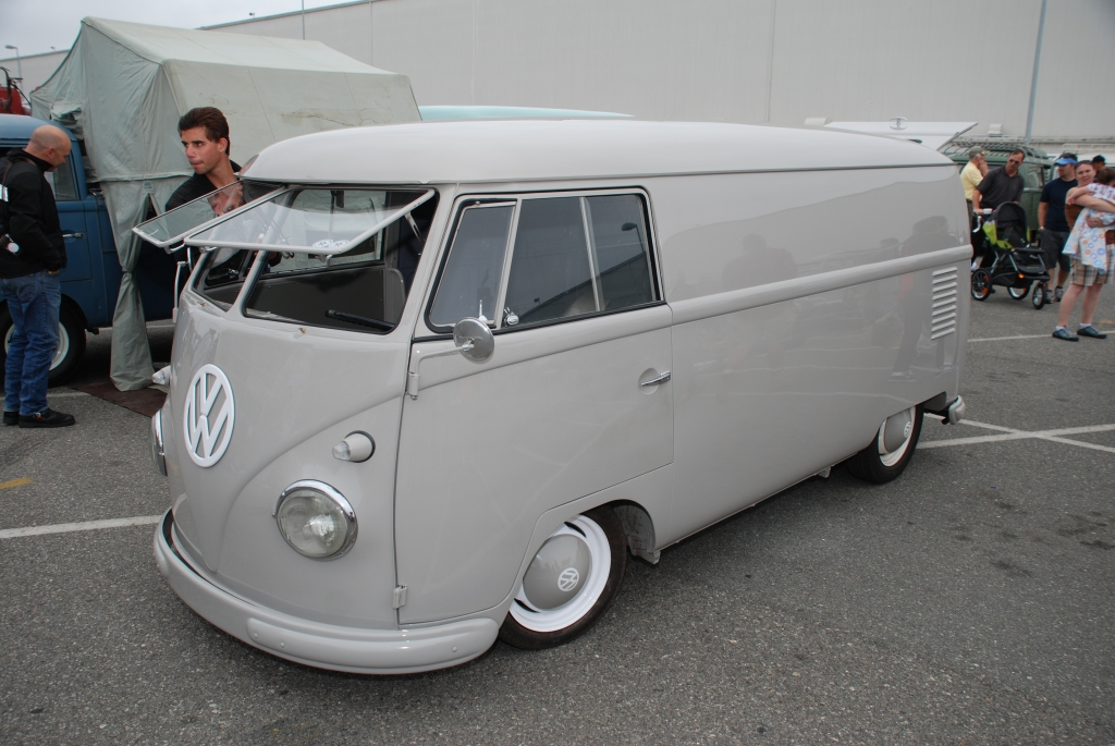 VW type II transporter  _ Gray Panelvan_3/4 front view_The 2012 O.C.T.O  show_June 9, 2012