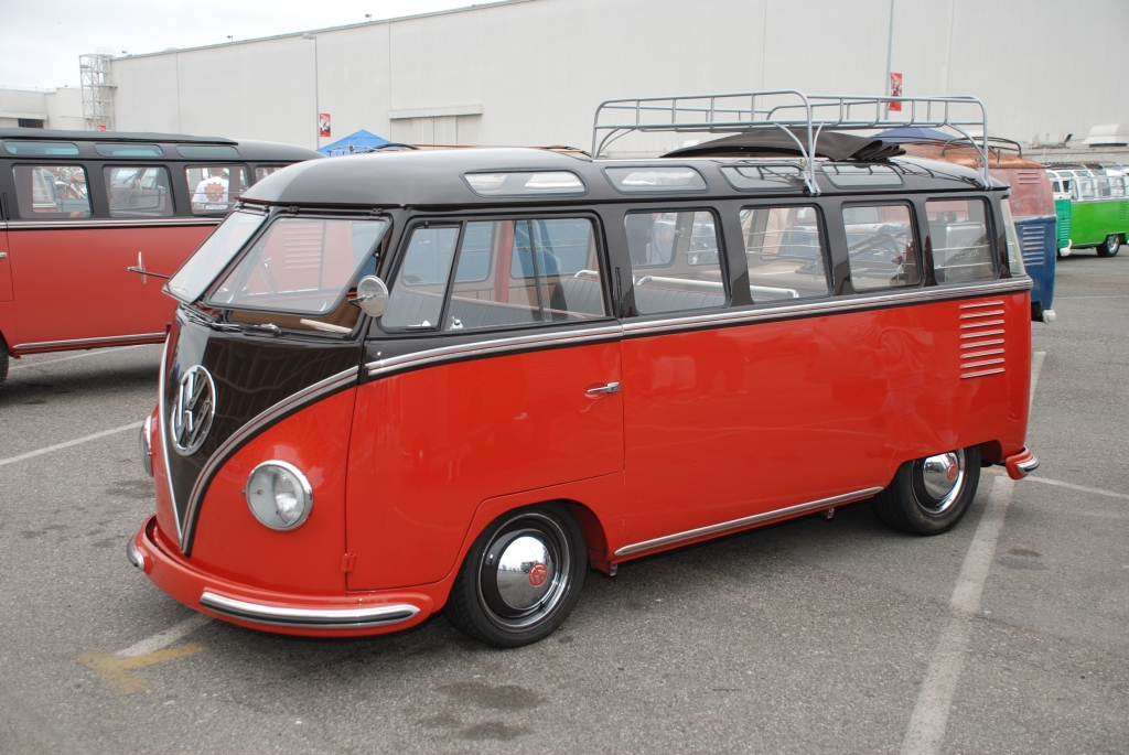VW type II transporter _Barndoor display _red & black lowered bus, 3/4 front view_The 2012 O.C.T.O  show_June 9, 2012