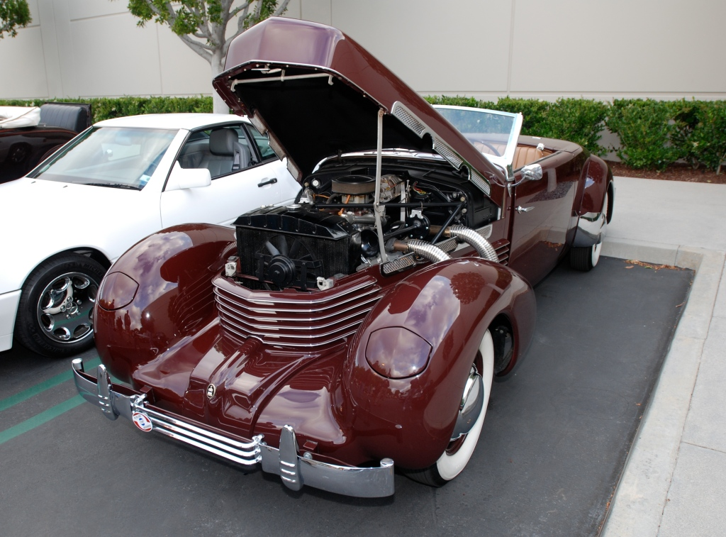 Burgundy 1937 Cord 812 convertible with tan interior_3/4 front view_Cars&Coffee_May 26, 2012