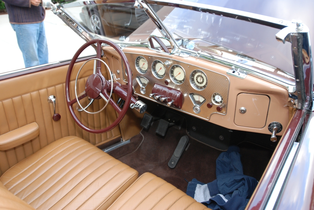 Burgundy 1937 Cord 812 convertible with tan interior_interior view_Cars&Coffee_May 26, 2012