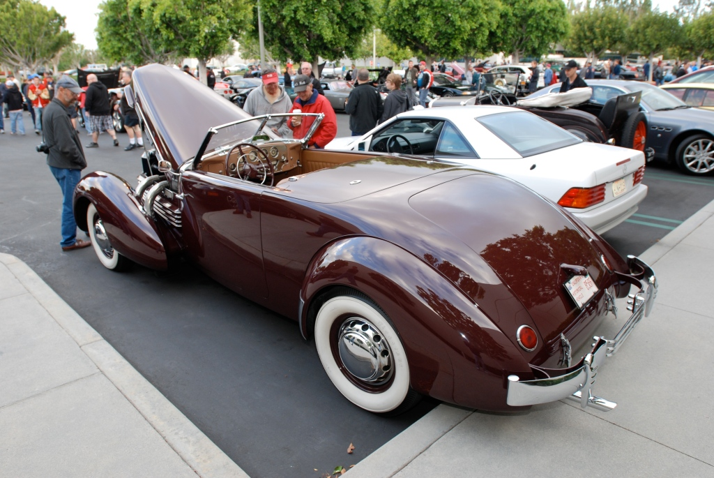 Burgundy 1937 Cord 812 convertible with tan interior_3/4 rear view_Cars&Coffee_May 26, 2012