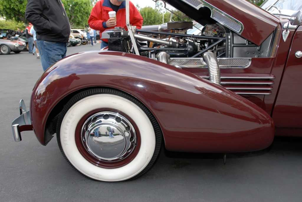 Burgundy 1937 Cord 812 convertible_side view of pontoon fender_Cars&Coffee_May 26, 2012