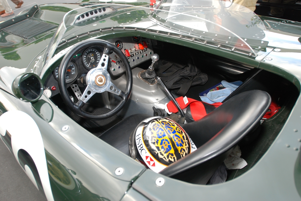 British Racing Green Jaguar E Type roadster race car_cockpit view_Cars&Coffee_May 26, 2012