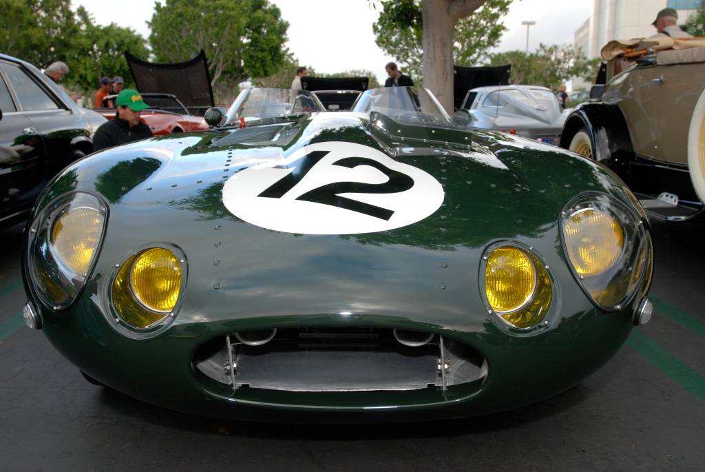 British Racing Green Jaguar E Type roadster race car_front view_Cars&Coffee_May 26, 2012