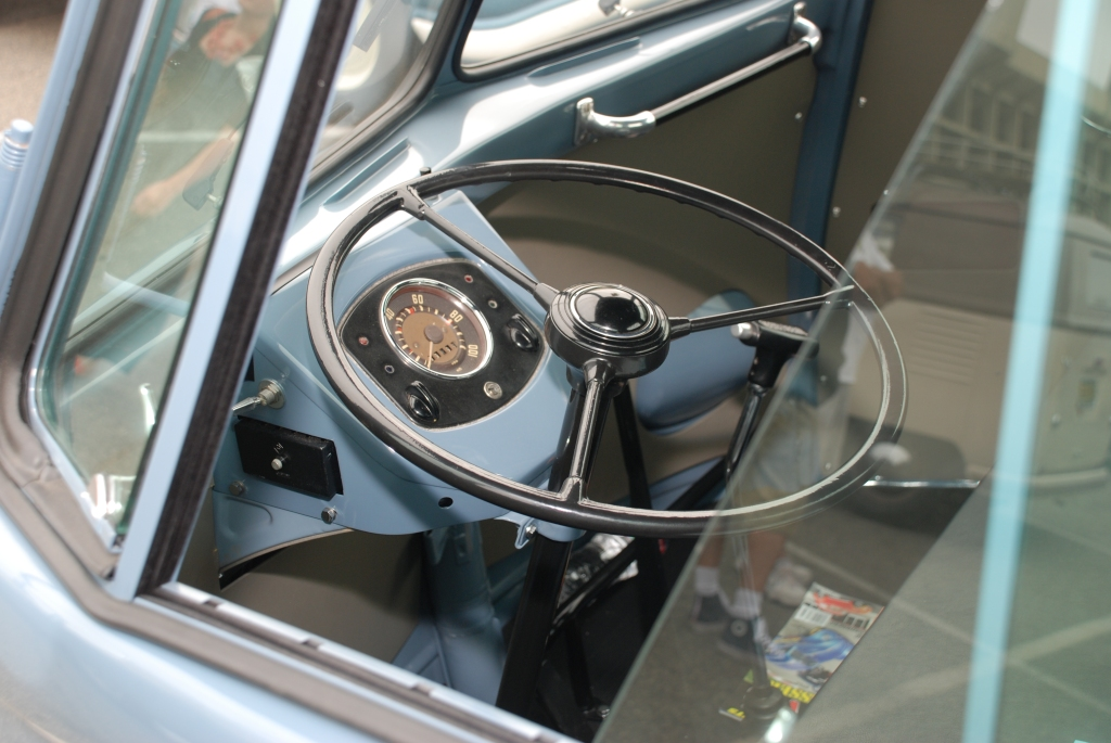 VW type II transporter  _Dove blue single cab__steering wheel detail_The 2012 O.C.T.O  show_June 9, 2012