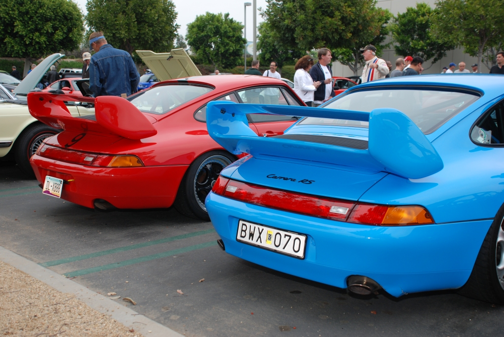 Mexico Blue Porsche 993 Carrera RS Club Sport and its red 993 doppelganger_3/4rear view _Cars&Coffee/Irvine_June 16, 2012