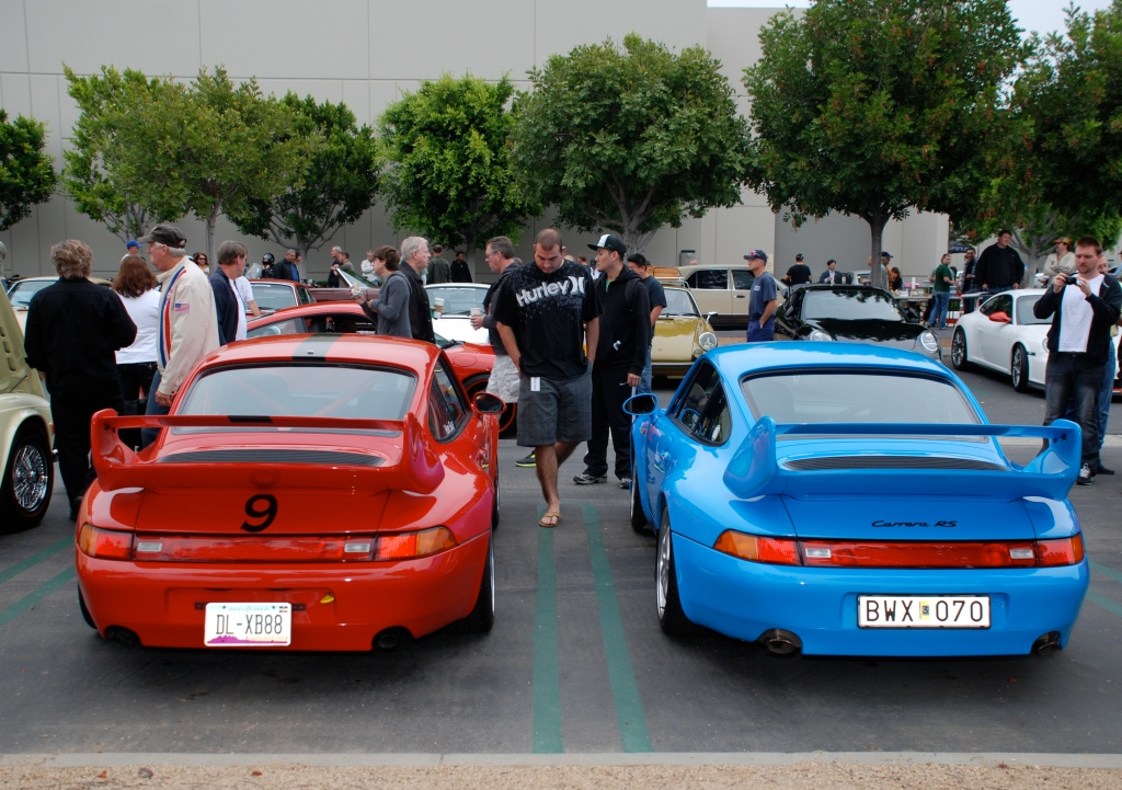 Mexico Blue Porsche 993 Carrera RS Club Sport and its red 993 doppelganger_ dual rear views_Cars&Coffee/Irvine_June 16, 2012