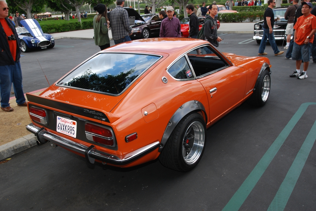 Restored early 1970's orange Datsun 240 Z_3/4 rear view_Cars&Coffee_May 26, 2012
