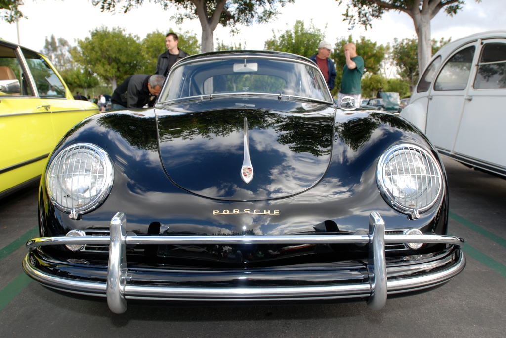 Black Porsche 356A coupe w/green interior_front view with reflections_Cars&Coffee_May 26, 2012