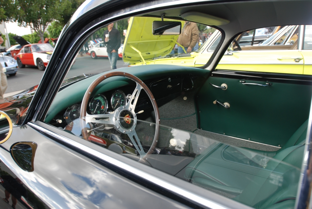 Black Porsche 356A coupe w/green interior_interior shot-drivers side_Cars&Coffee_May 26, 2012