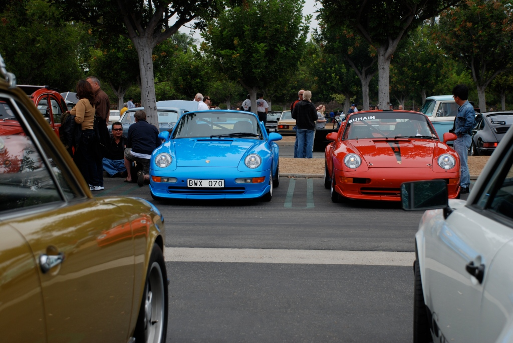 2 Porsches at rest _Mexico blue Carrera RS Club sport and Red Carrera RS Cup car_Cars&Coffee/Irvine_June 16, 2012