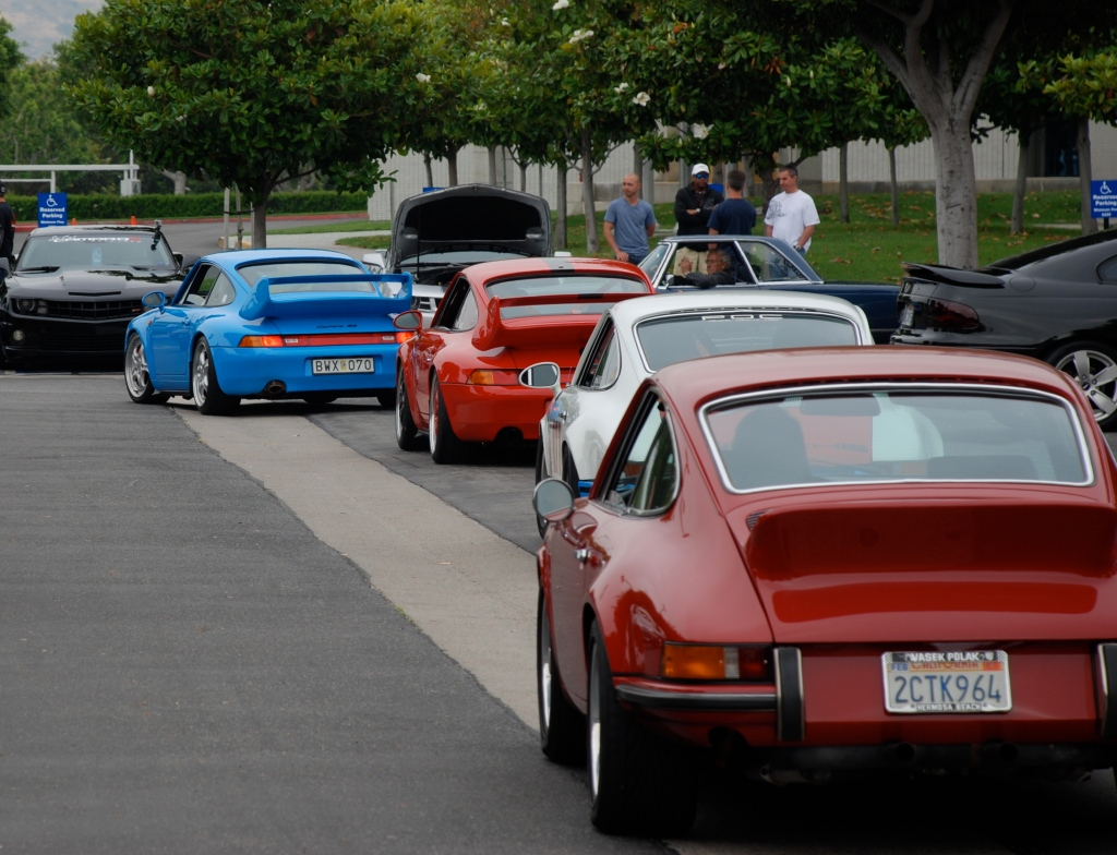 Single file Porsche convoy _993s and 911s_Cars&Coffee/Irvine_June 16. 2012