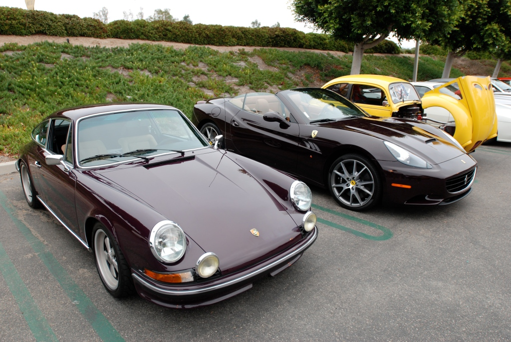 Aubergine 1973 Porsche 911 T _and Ferrari California_Cars&Coffee/Irvine_June 23, 2012