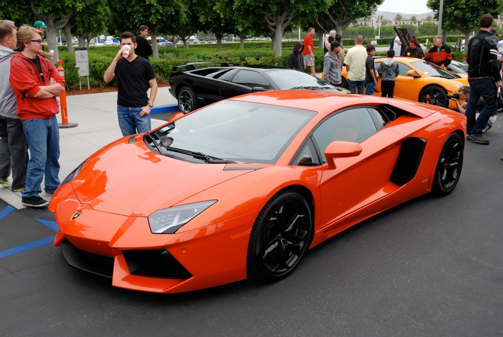 Burnt orange 2012 Lamborghini  Aventador LP 700-4_3/4 front view_Cars&Coffee/Irvine_June 23, 2012