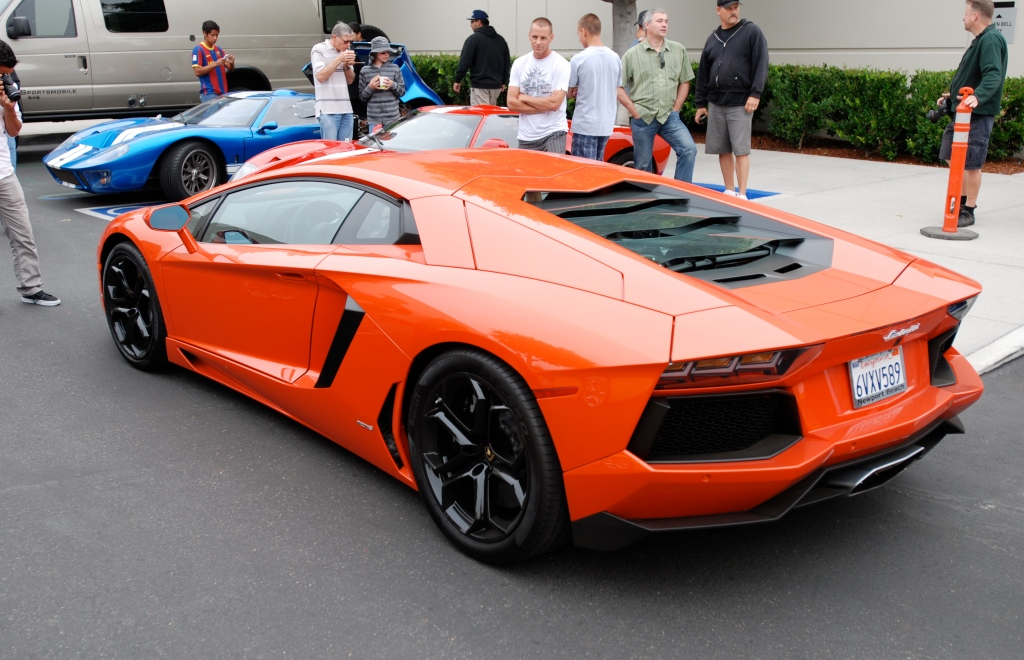 Burnt orange 2012 Lamborghini  Aventador LP 700-4_3/4 rear view_Cars&Coffee/Irvine_June 23, 2012
