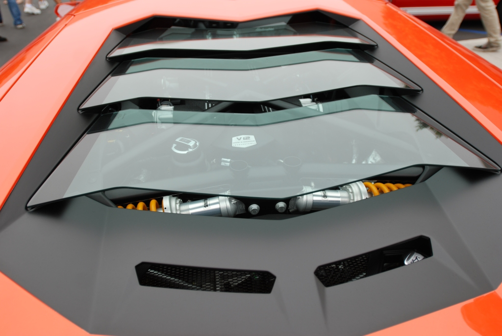 Burnt orange 2012 Lamborghini  Aventador LP 700-4_ rear view/glass louvers_Cars&Coffee/Irvine_June 23, 2012