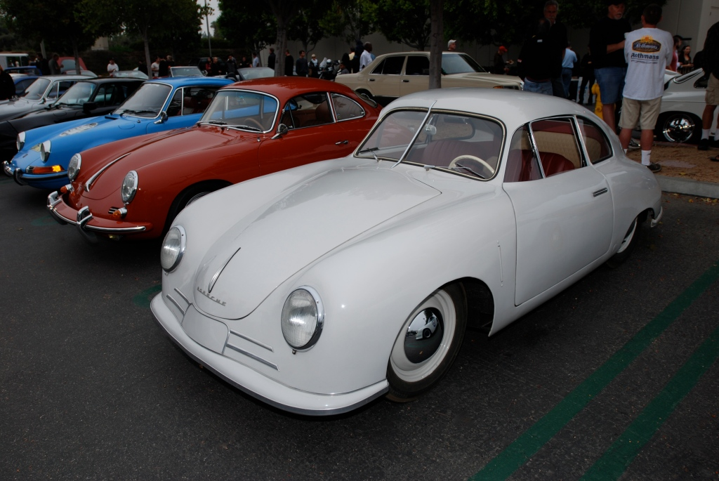 Ivory Porsche 356/2 Gmund coupe_Porsche row_cars&coffee_July 7, 2012
