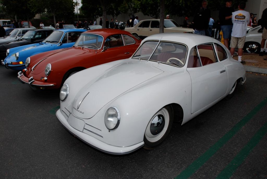 Ivory Porsche 356/2 Gmund coupe_Porsche row_cars&coffee_July 7, 2012