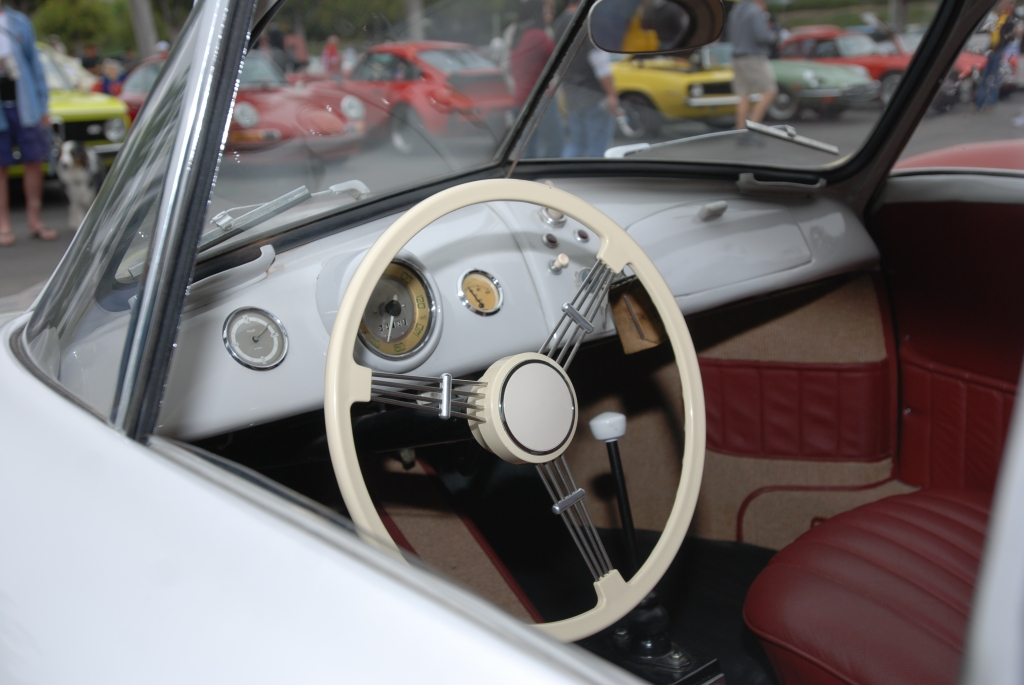 Ivory Porsche 356/2 Gmund coupe_Interior view__cars&coffee_July 7, 2012