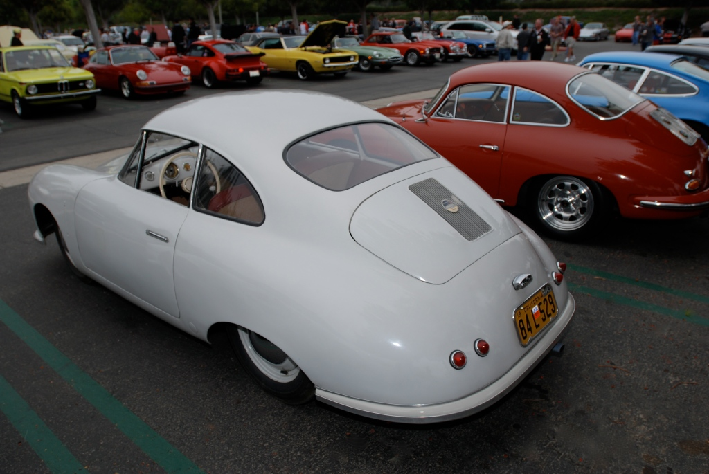 Ivory Porsche 356/2 Gmund coupe_3/4 rear view_Porsche row_cars&coffee_July 7, 2012